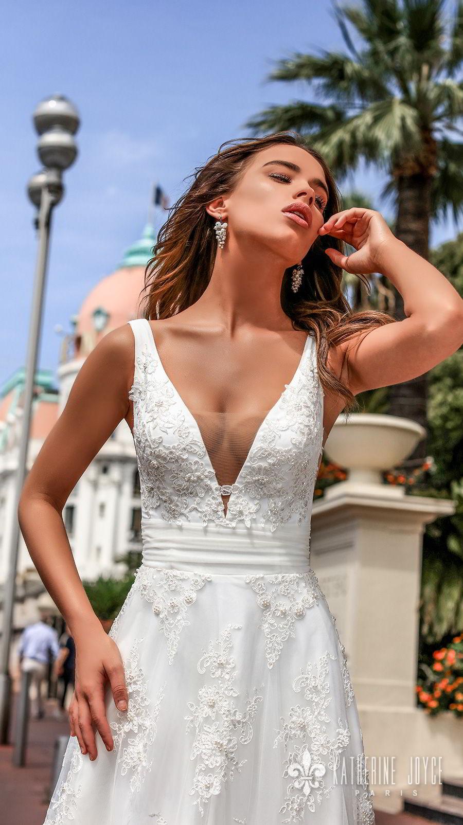 katherine joyce 2018 bridal sleeveless deep v neckline full embellishment side open romantic a  line wedding dress corset back sweep train (perla) zv