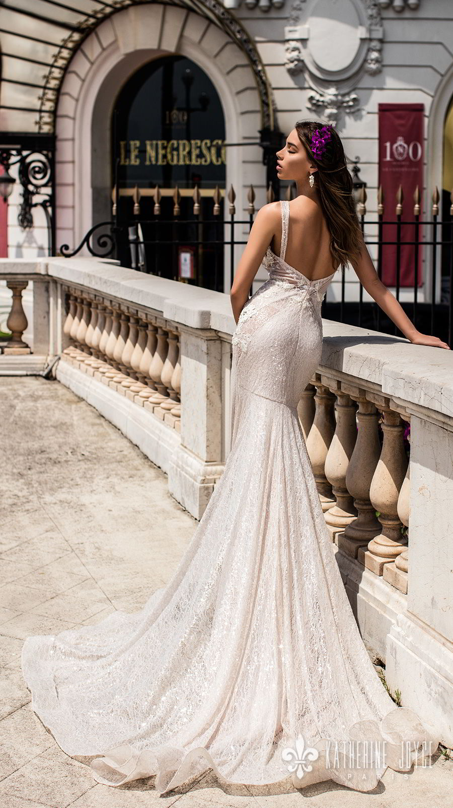 katherine joyce 2018 bridal sleeveless illusion bateau deep v neck full embellishment elegant sexy fit and flare wedding dress open back chapel train (alisiya) bv