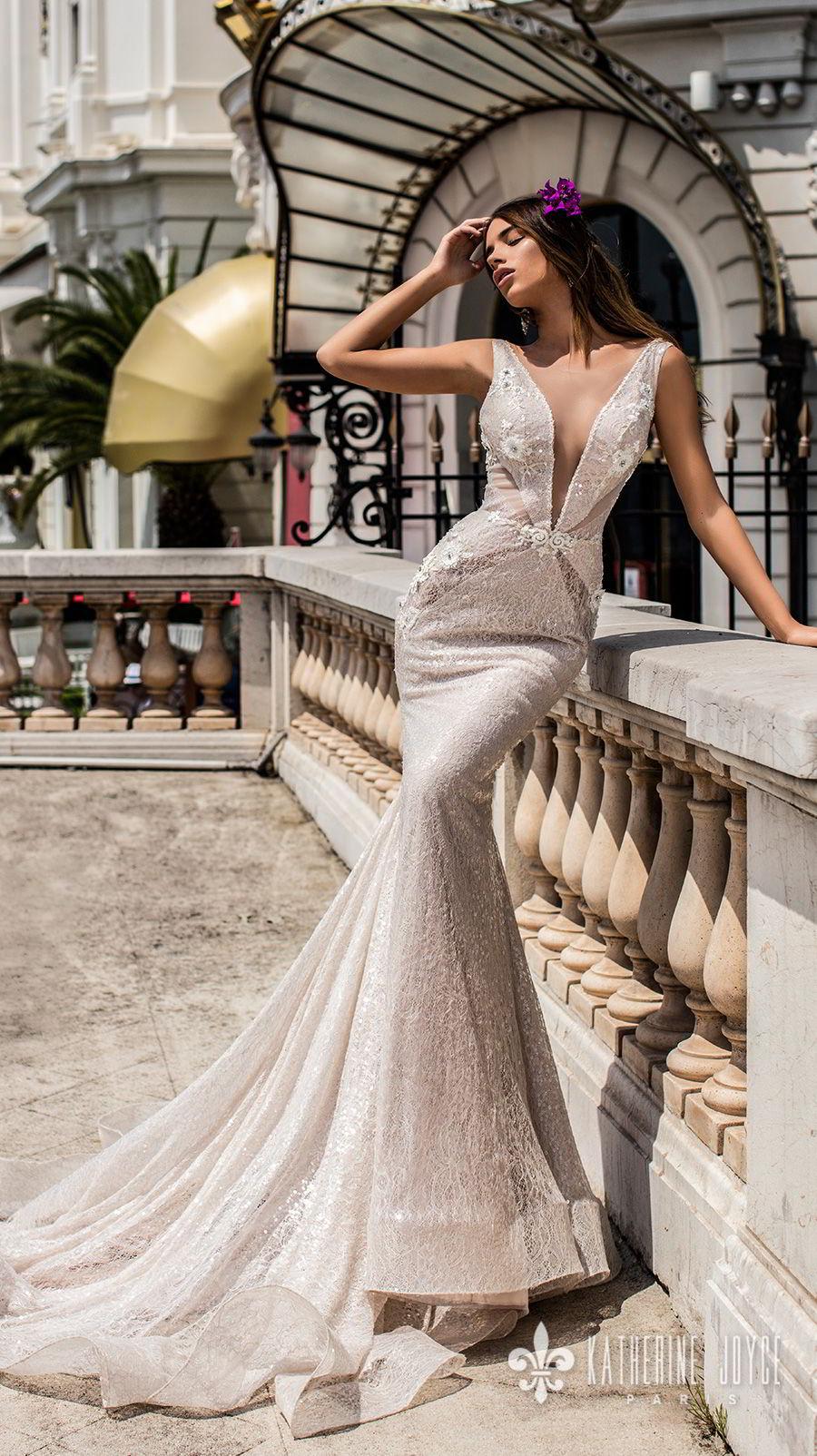 katherine joyce 2018 bridal sleeveless illusion bateau deep v neck full embellishment elegant sexy fit and flare wedding dress open back chapel train (alisiya) mv