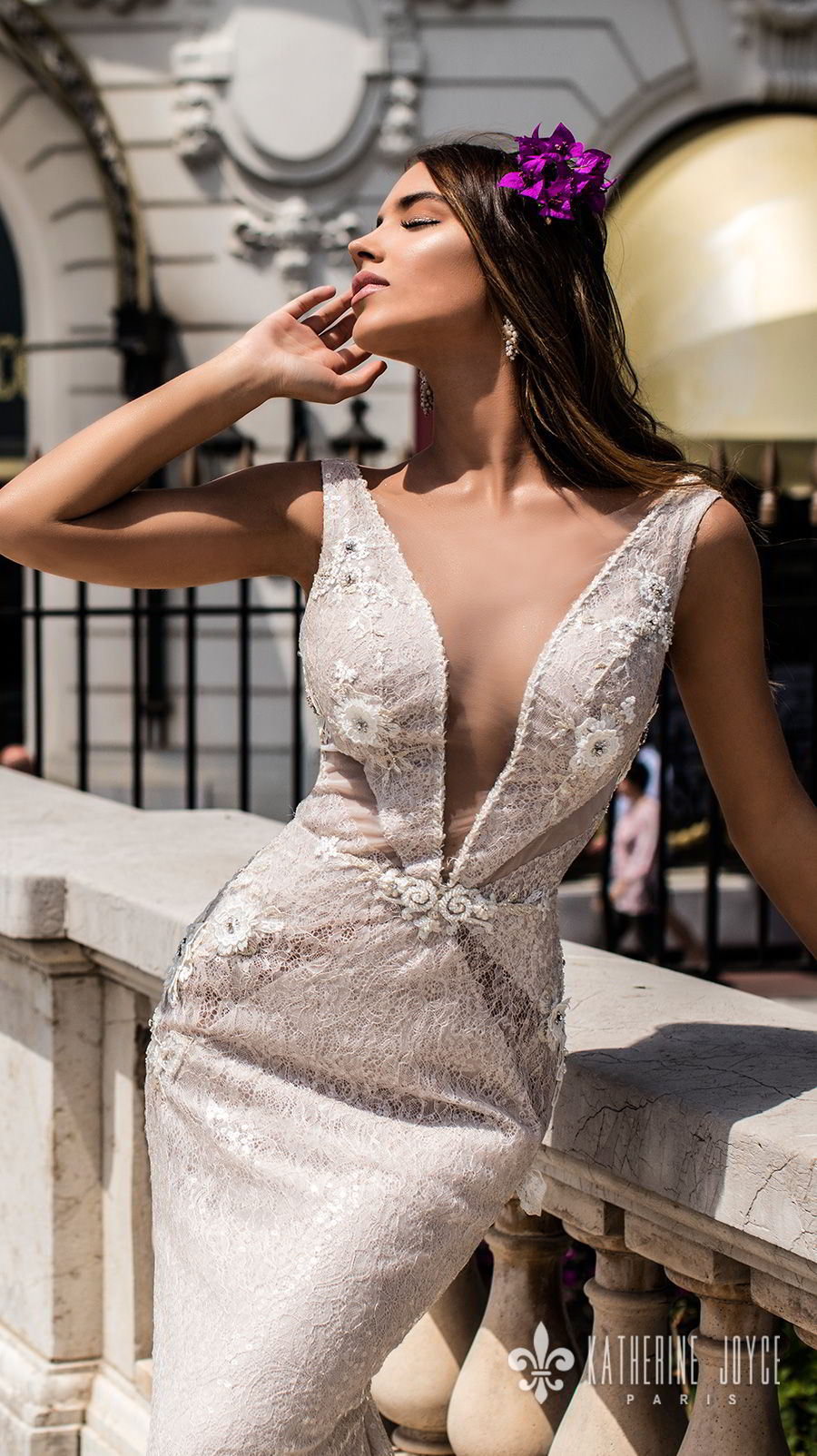 katherine joyce 2018 bridal sleeveless illusion bateau deep v neck full embellishment elegant sexy fit and flare wedding dress open back chapel train (alisiya) zv