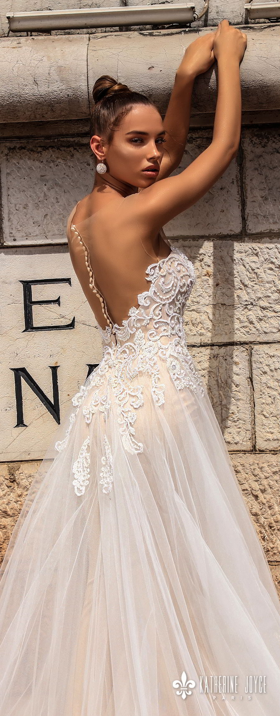 katherine joyce 2018 bridal sleeveless illusion bateau sweetheart neckline heavily embellished bodice tulle skirt romantic a  line wedding dress sheer button back chapel train (consuela) zbv