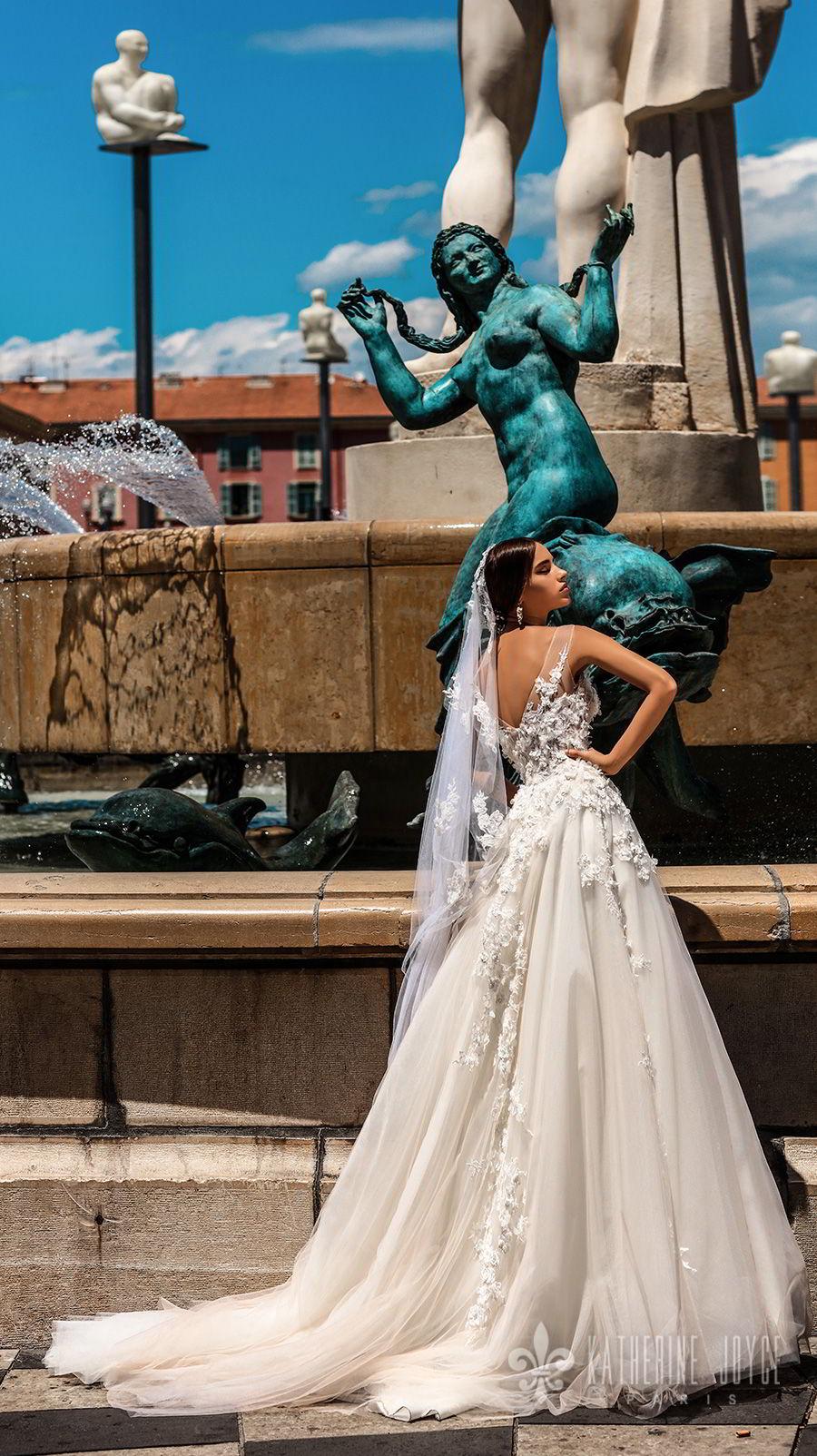 katherine joyce 2018 bridal sleeveless illusion jewel neck heavily embellished bodice romantic a  line wedding dress v back chapel train (rosetta) bv