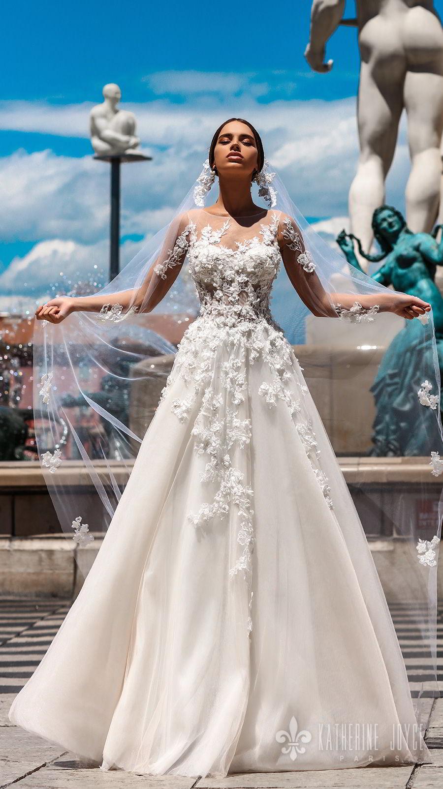 katherine joyce 2018 bridal sleeveless illusion jewel neck heavily embellished bodice romantic a  line wedding dress v back chapel train (rosetta) mv