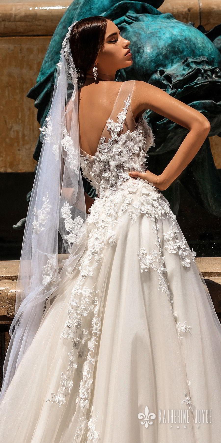 katherine joyce 2018 bridal sleeveless illusion jewel neck heavily embellished bodice romantic a  line wedding dress v back chapel train (rosetta) zbv