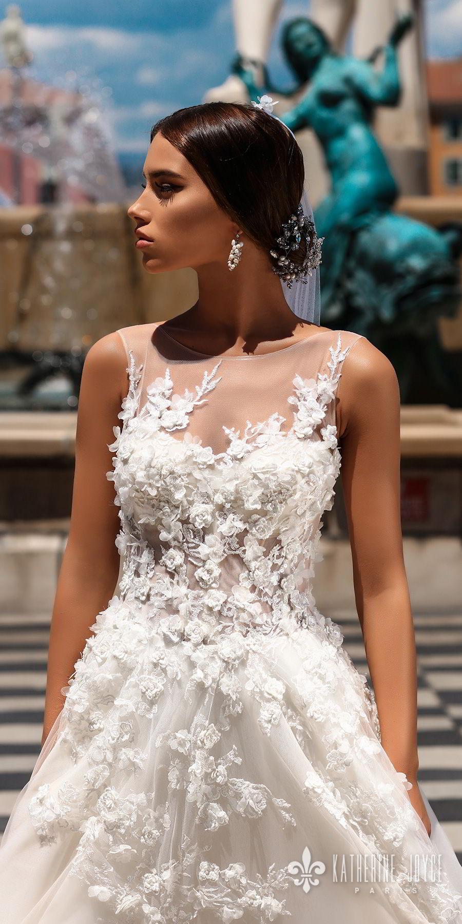 katherine joyce 2018 bridal sleeveless illusion jewel neck heavily embellished bodice romantic a  line wedding dress v back chapel train (rosetta) zv