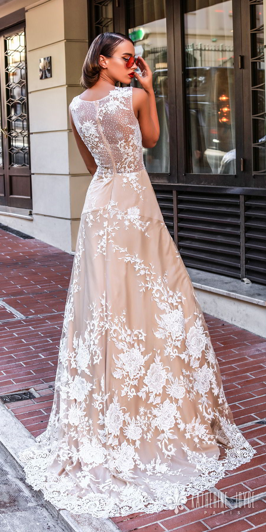 katherine joyce 2018 bridal sleeveless jewel neck full embellishment elegant romantic champagne color a  line wedding dress sheer lace back sweep train (marisabelle) bv