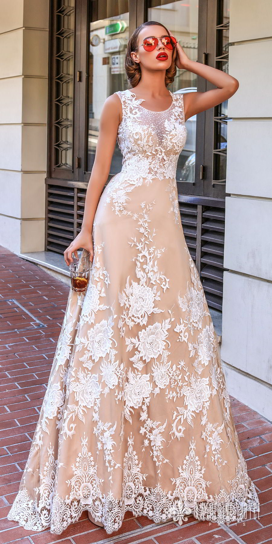 katherine joyce 2018 bridal sleeveless jewel neck full embellishment elegant romantic champagne color a  line wedding dress sheer lace back sweep train (marisabelle) mv