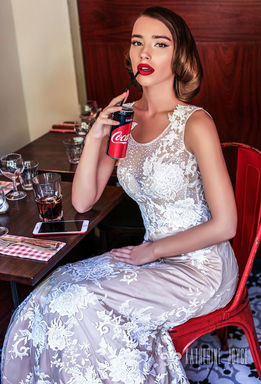 katherine joyce 2018 bridal sleeveless jewel neck full embellishment elegant romantic champagne color a  line wedding dress sheer lace back sweep train (marisabelle) zv