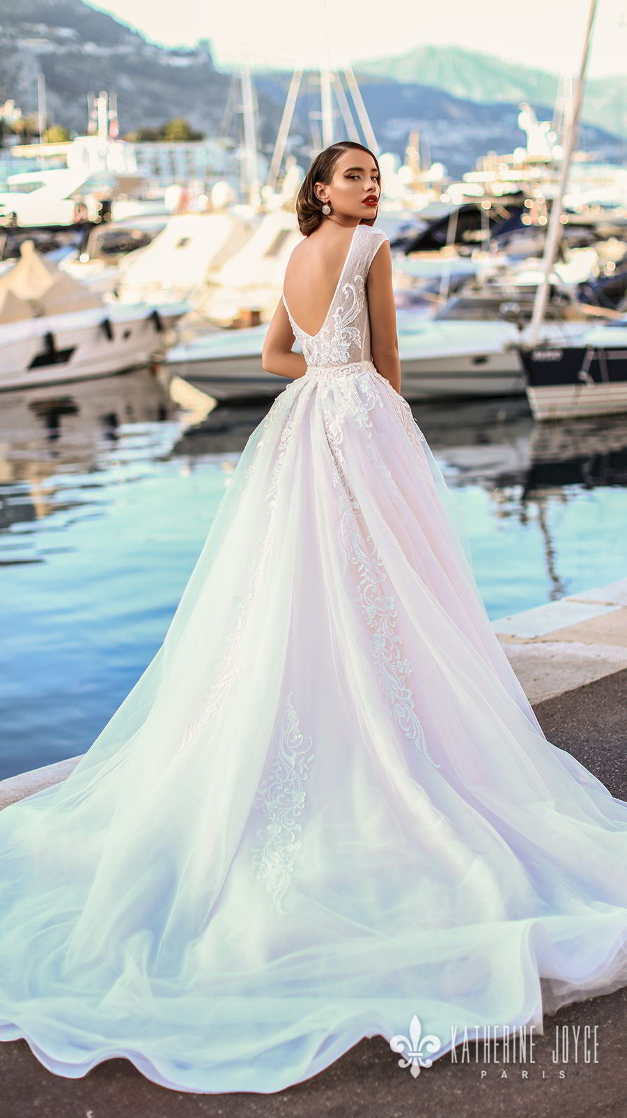 katherine joyce 2018 bridal sleeveless jewel neck heavily embellished bodice romantic ball gown a  line wedding dress scoop back chapel train (mari) bv