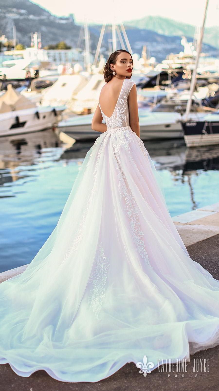 katherine joyce 2018 bridal sleeveless jewel neck heavily embellished bodice romantic ball gown a  line wedding dress scoop back chapel train (mari) bv