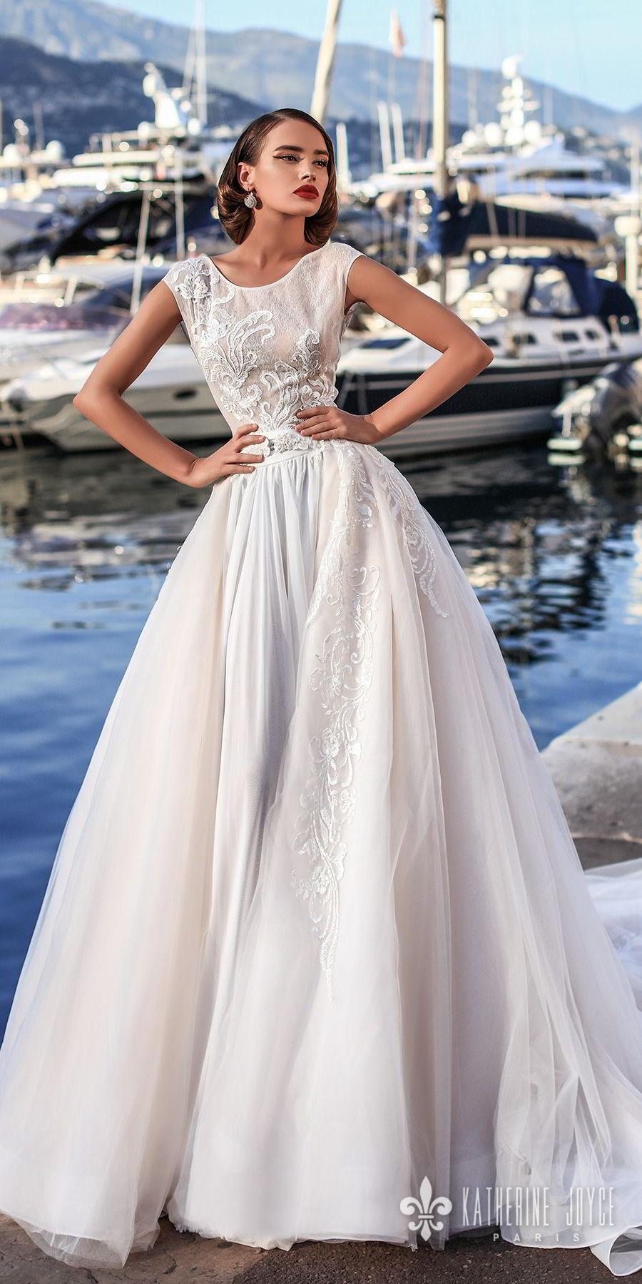 katherine joyce 2018 bridal sleeveless jewel neck heavily embellished bodice romantic ball gown a  line wedding dress scoop back chapel train (mari) mv