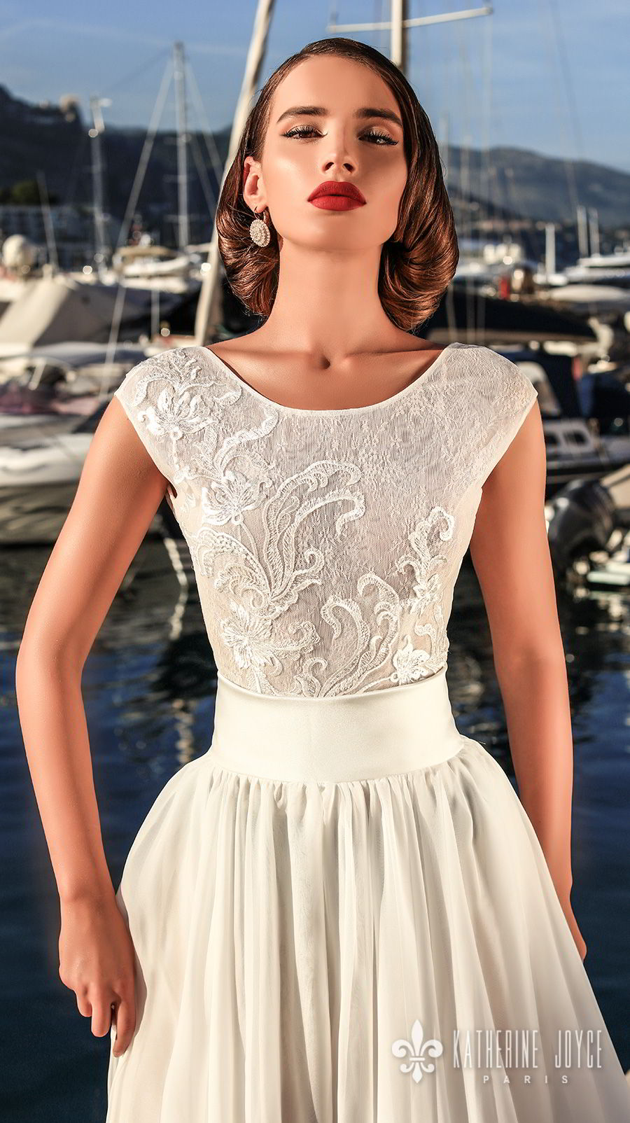 katherine joyce 2018 bridal sleeveless jewel neck heavily embellished bodice romantic ball gown a  line wedding dress scoop back chapel train (mari) zv