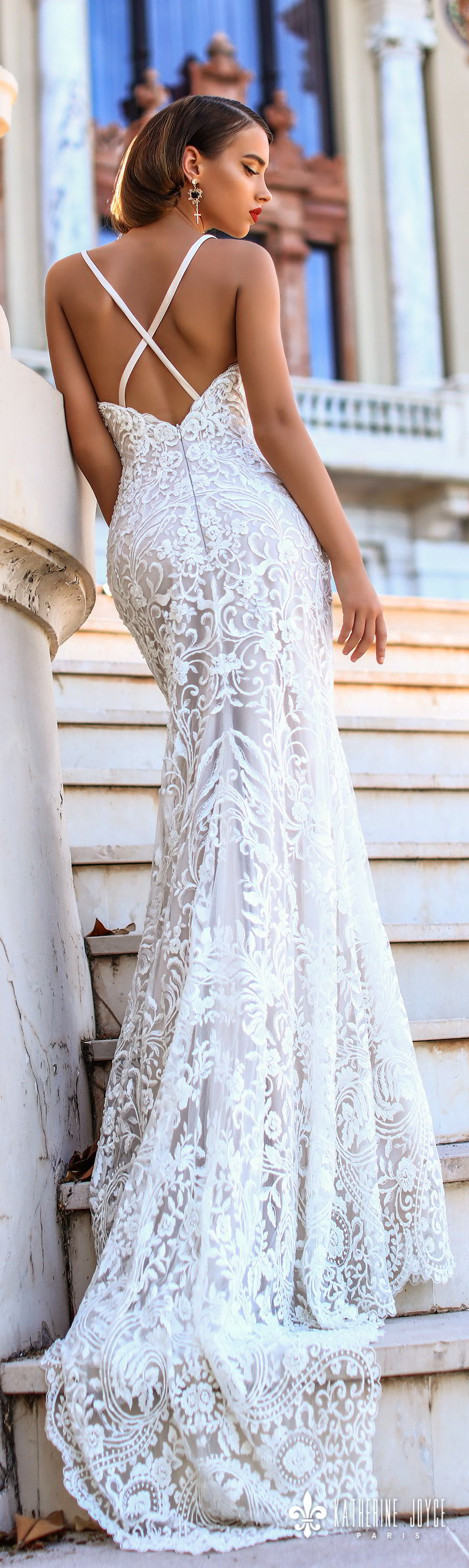katherine joyce 2018 bridal sleeveless thin strap sweetheart neckline full embellishment elegant sheath wedding dress cross strap back sweep train (kendall) bv