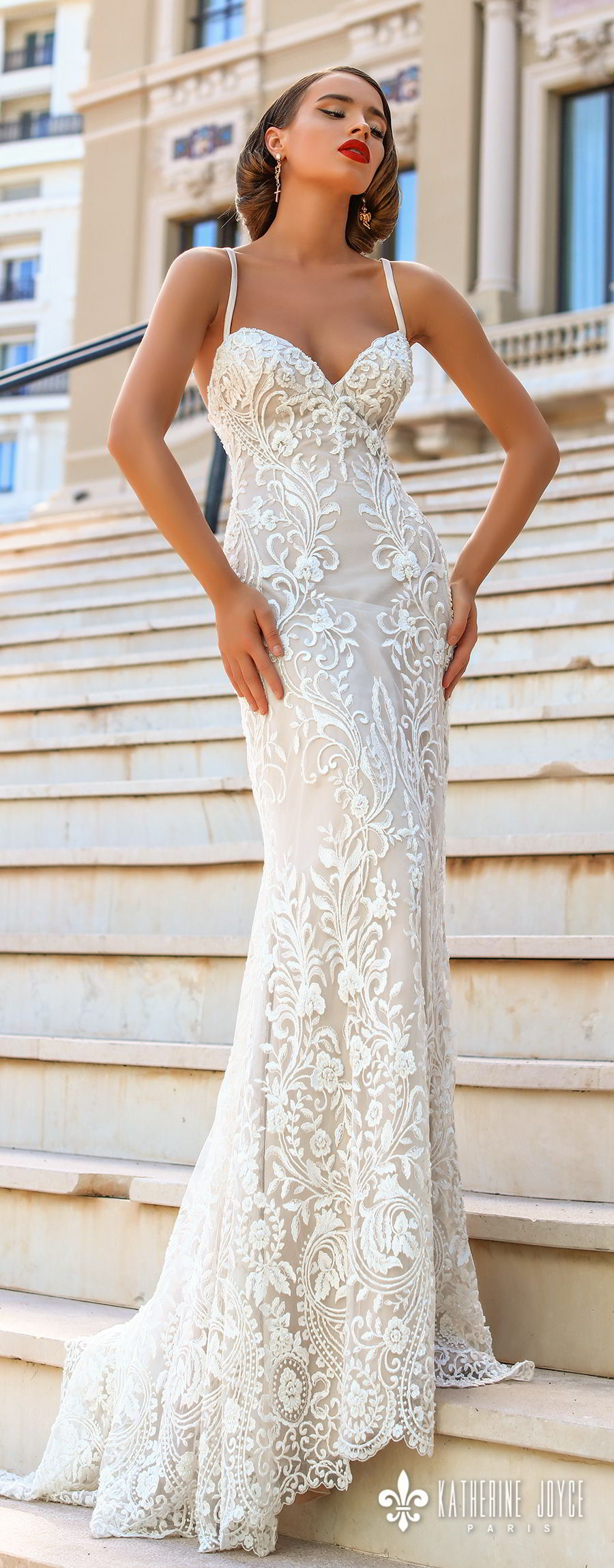 katherine joyce 2018 bridal sleeveless thin strap sweetheart neckline full embellishment elegant sheath wedding dress cross strap back sweep train (kendall) mv