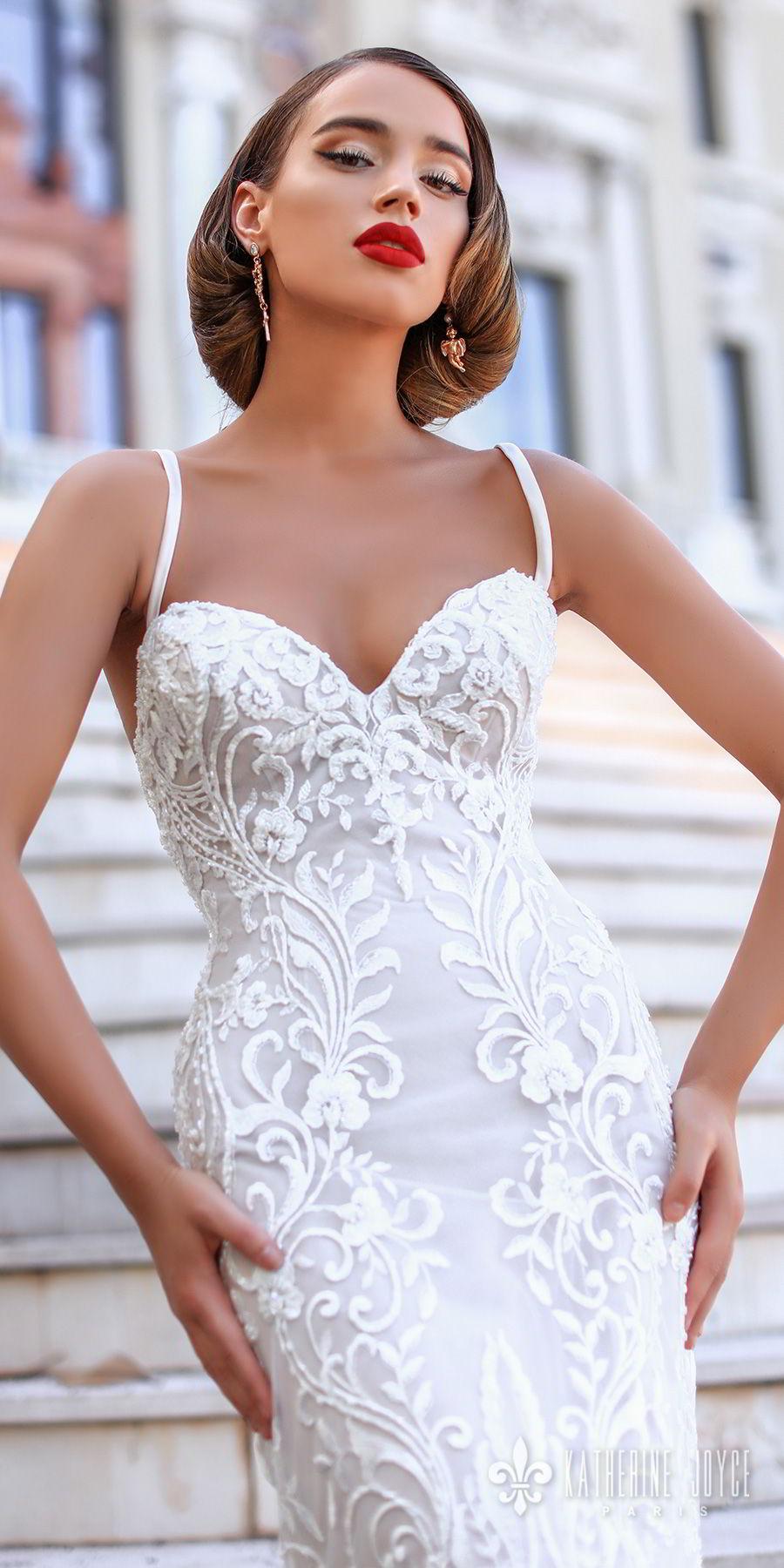 katherine joyce 2018 bridal sleeveless thin strap sweetheart neckline full embellishment elegant sheath wedding dress cross strap back sweep train (kendall) zv