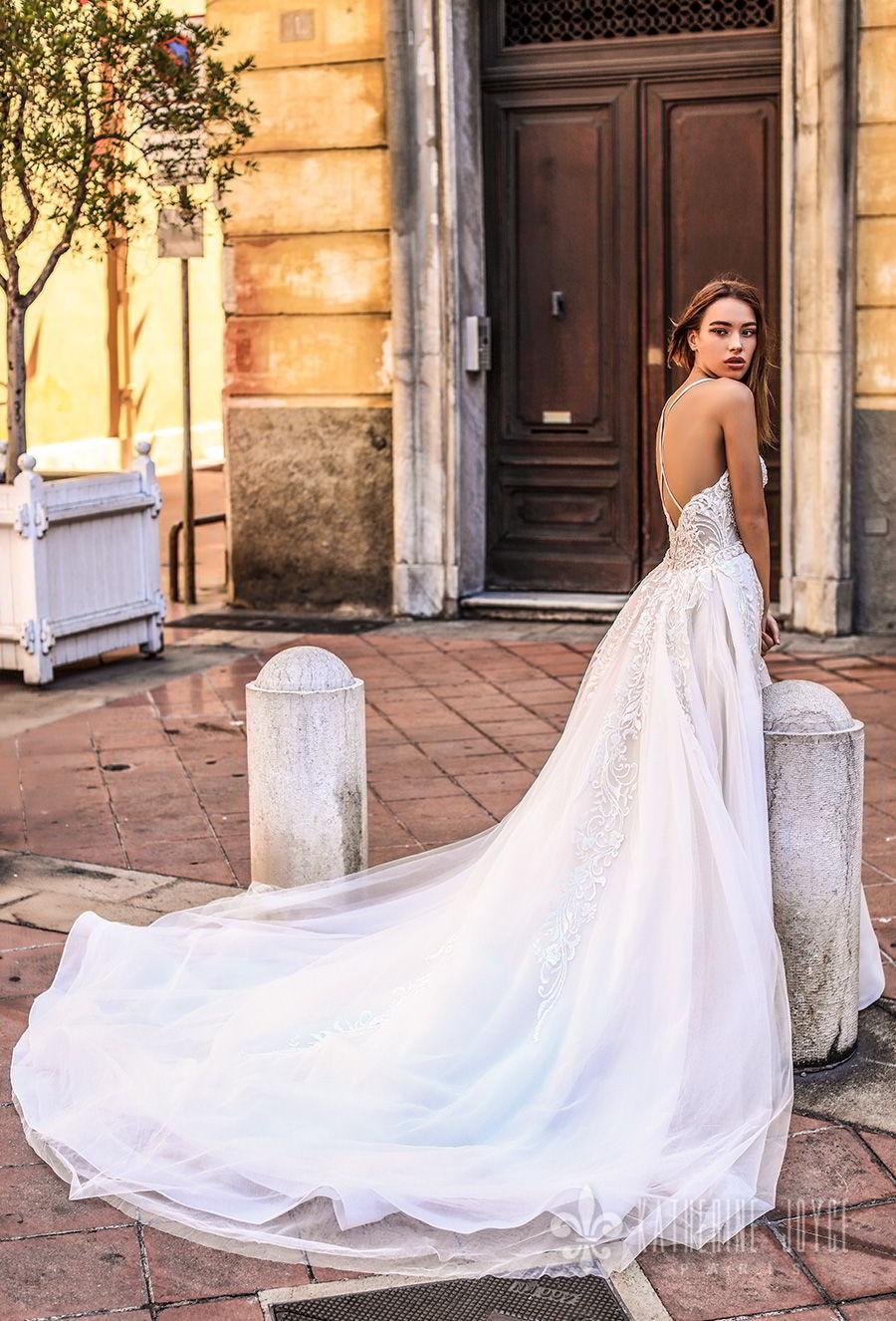katherine joyce 2018 bridal thin strap sweetheart neckline full embellishment elegant sheath wedding dress a  line overskirt open back chapel train (kendall) bv