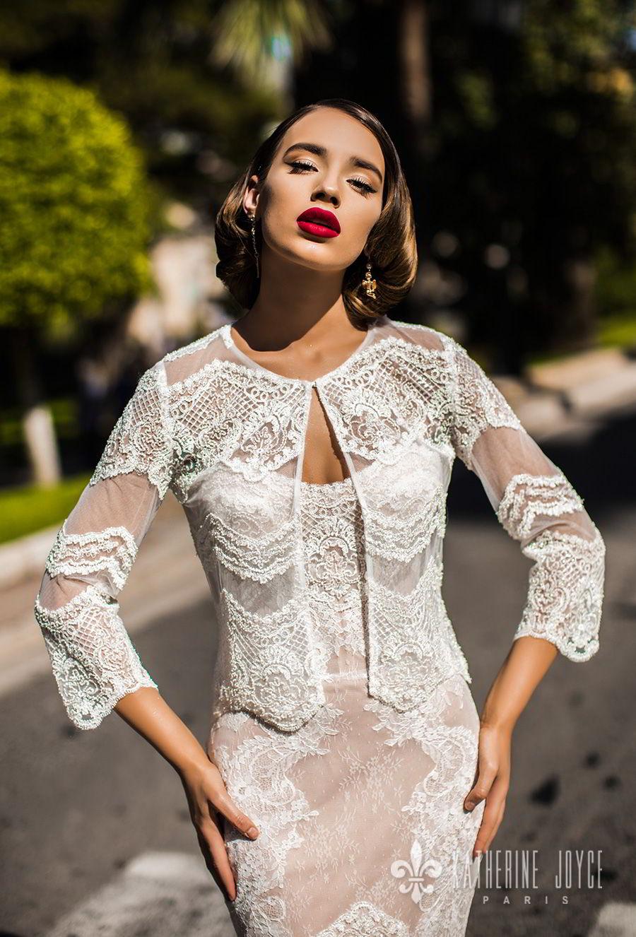 katherine joyce 2018 bridal three quarter sleeves sweetheart neckline heavily embellished bodice elegant sexy mermaid wedding dress lace jacket chapel train (bonita) zv