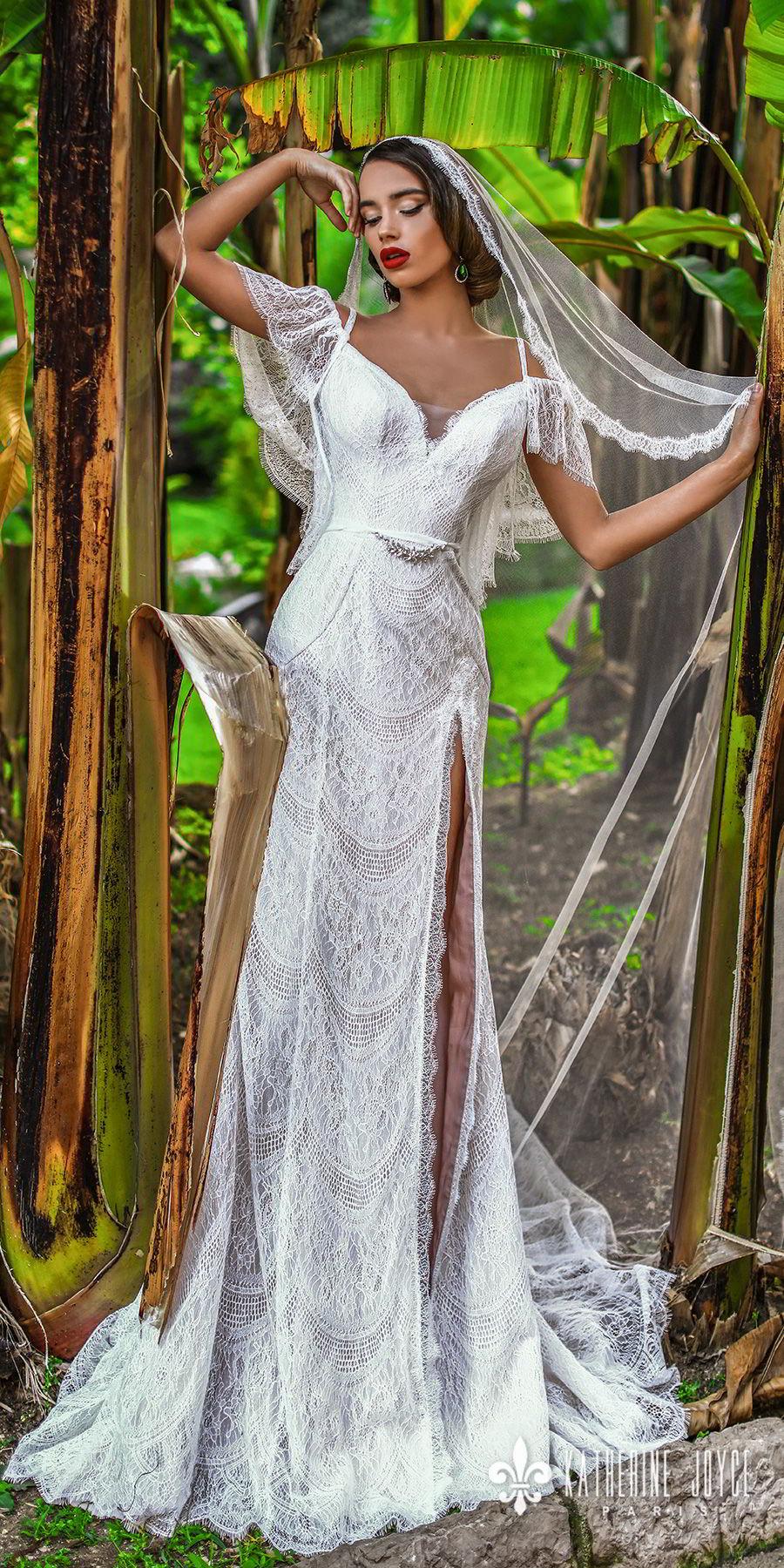 ffd516a2a1b katherine joyce 2018 off the shoulder short butterfly sleevess sweetheart  neckline full embellishment slit skirt romantic