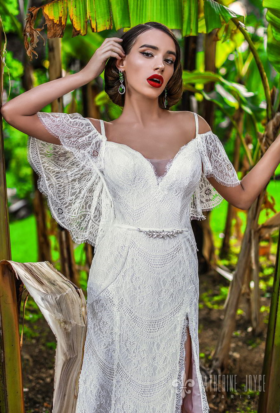 katherine joyce 2018 off the shoulder short butterfly sleevess sweetheart neckline full embellishment slit skirt romantic bohemian a  line wedding dress open v back medium train (beatrise) zv
