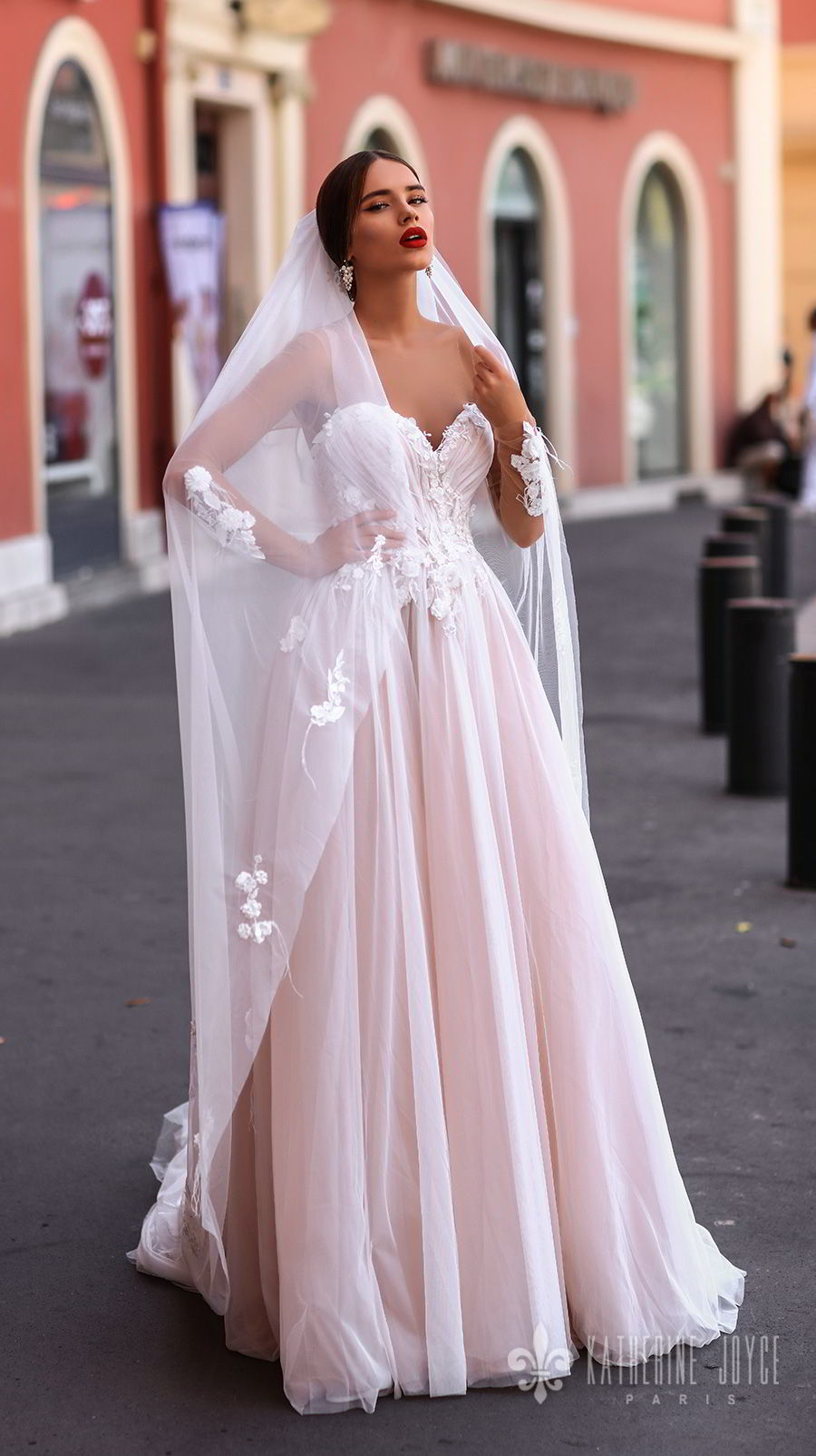 katherine joyce 2018 sheer long sleeves illusion bateau strapless sweetheart neckline heavily embellished bodice romantic pink a  line wedding dress sheer button back chapel train (catalina) mv