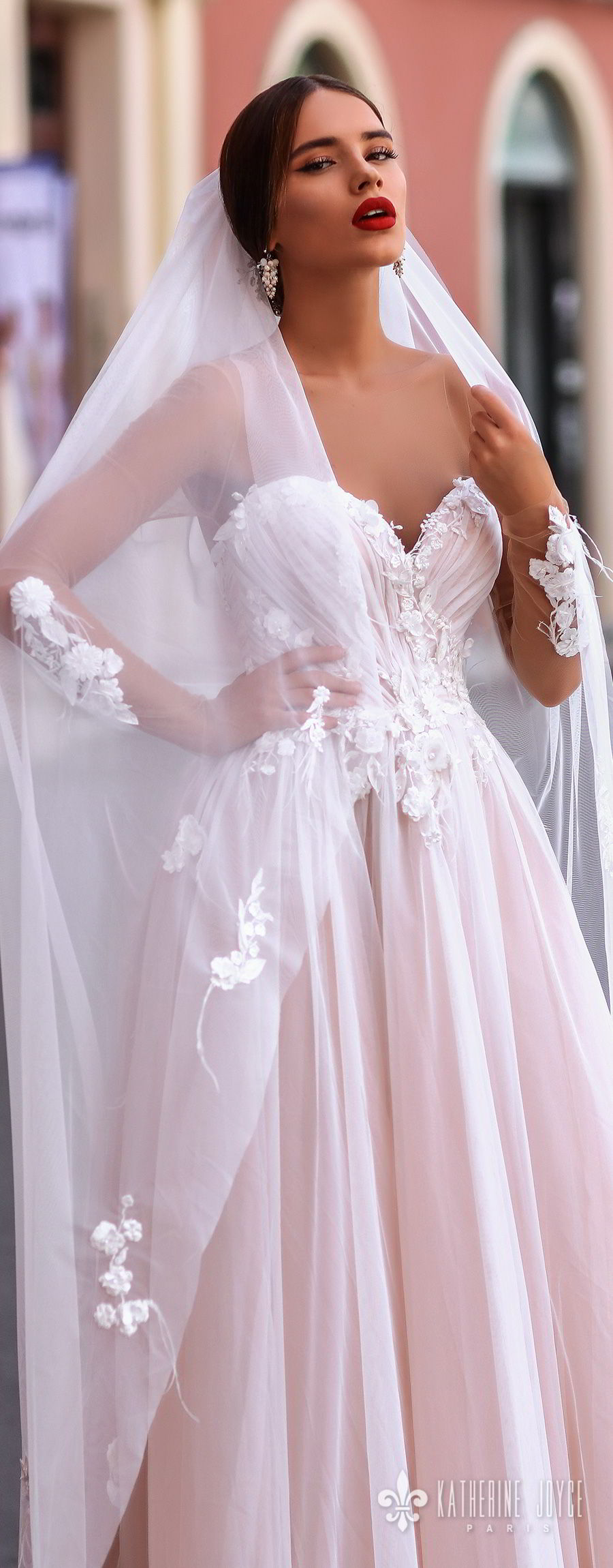 katherine joyce 2018 sheer long sleeves illusion bateau strapless sweetheart neckline heavily embellished bodice romantic pink a  line wedding dress sheer button back chapel train (catalina) zv