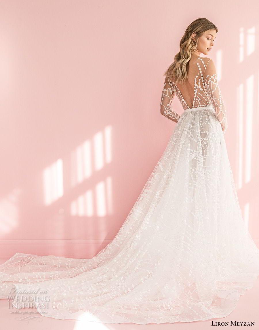 liron meyzan 2018 bridal long sleeves sweetheart heart neckline full embellishment romantic modern a  line wedding dress open v back chapel train (1)  bv