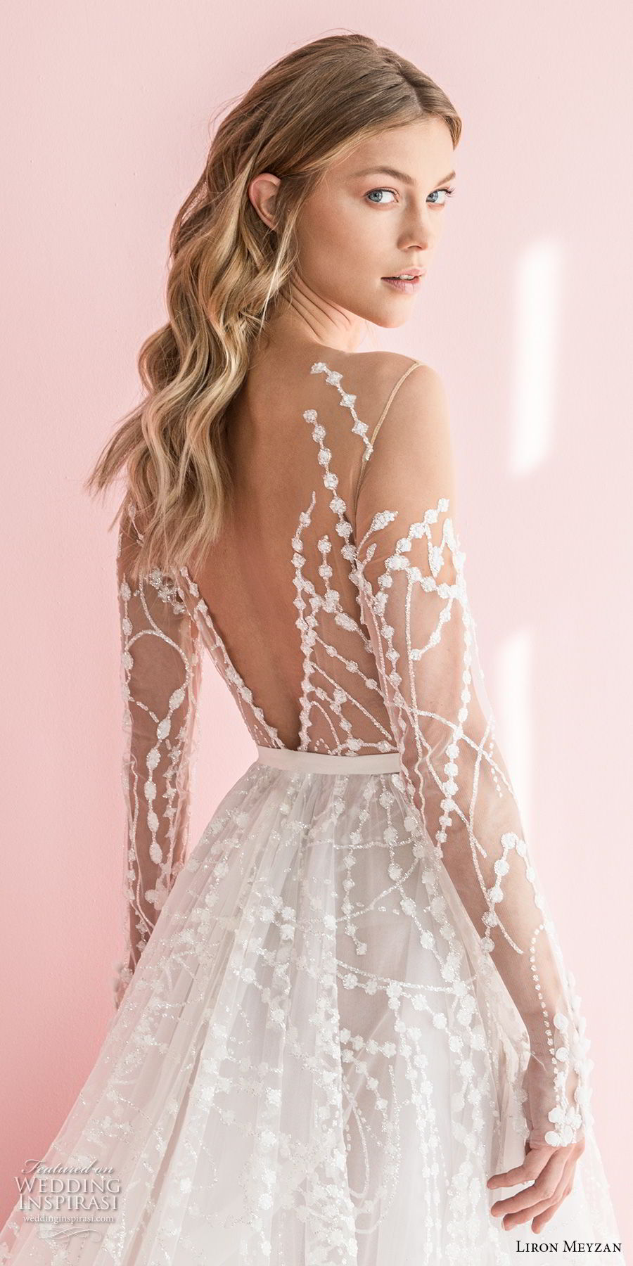liron meyzan 2018 bridal long sleeves sweetheart heart neckline full embellishment romantic modern a  line wedding dress open v back chapel train (1)  zbv