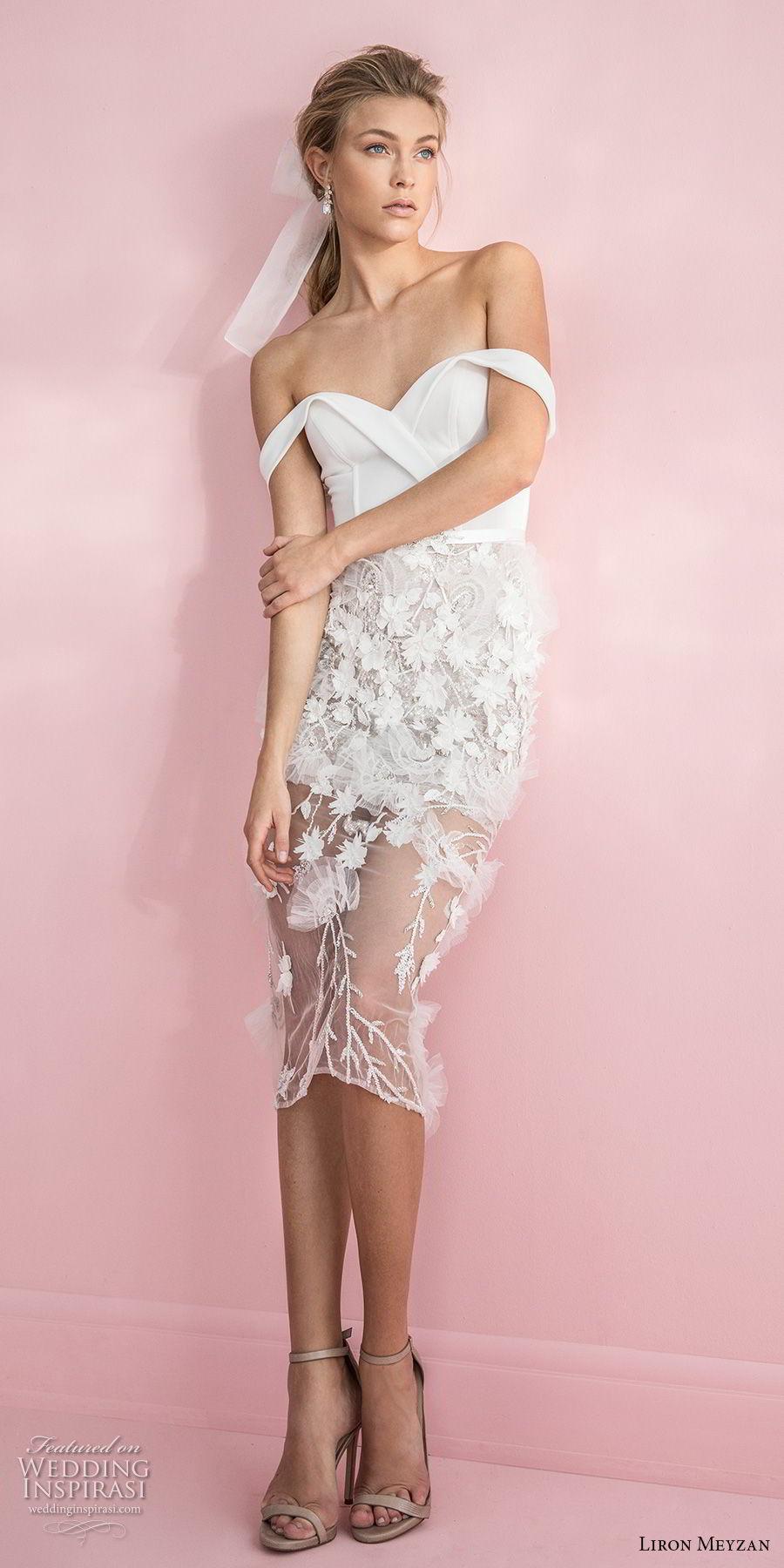 liron meyzan 2018 bridal off the shoulder sweetheart neckline wrap over bodice embellished skirt romantic short wedding dress  (6) mv