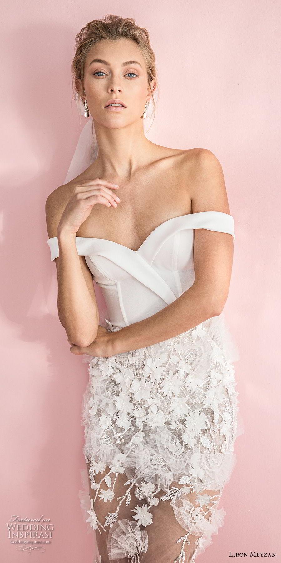 liron meyzan 2018 bridal off the shoulder sweetheart neckline wrap over bodice embellished skirt romantic short wedding dress  (6) zv