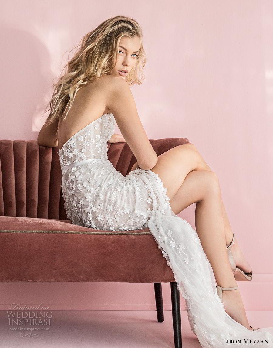 liron meyzan 2018 bridal one shoulder sweetheart neckline full embellishment high slit skirt modified a  line wedding dress open back sweep train (2) bv