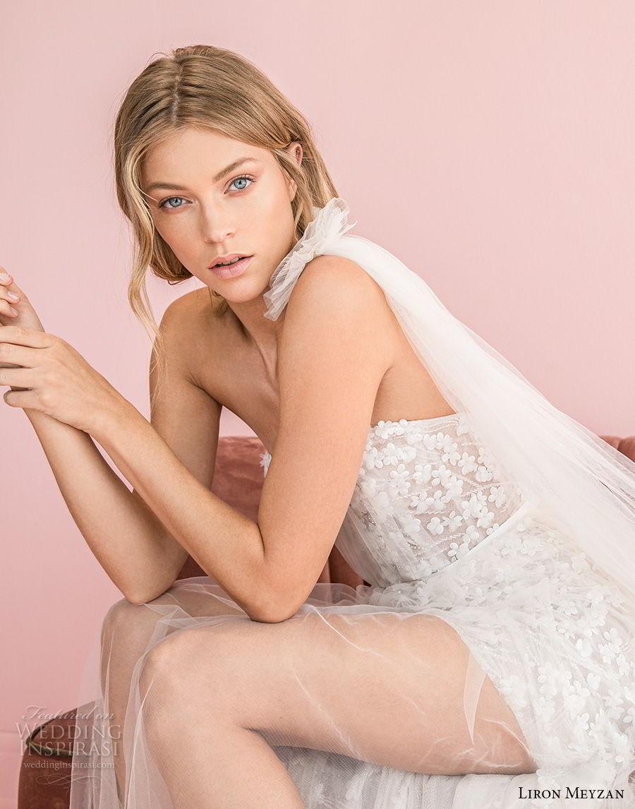 liron meyzan 2018 bridal one shoulder sweetheart neckline full embellishment high slit skirt modified a  line wedding dress open back sweep train (2) sdv