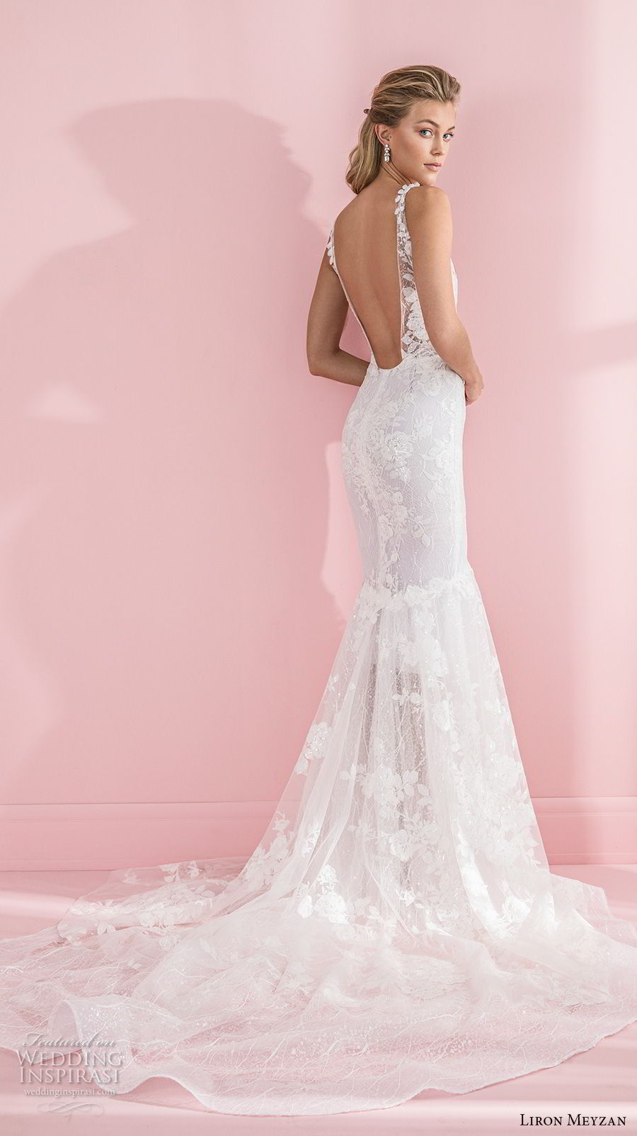 liron meyzan 2018 bridal sleeveless deep plunging v neck full embellishment open side elegant sexy mermaid wedding dress open back chapel train (5) bv mv