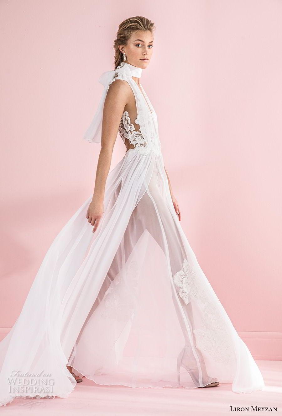 liron meyzan 2018 bridal sleeveless high neck deep v neck heavily embellished bodice sexy chic soft a  line wedding sheer lace back sweep train (4) sdv