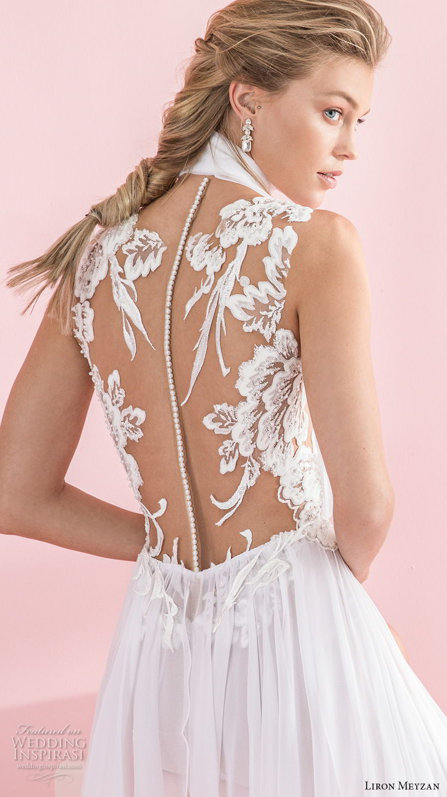 liron meyzan 2018 bridal sleeveless high neck deep v neck heavily embellished bodice sexy chic soft a  line wedding sheer lace back sweep train (4) zbv