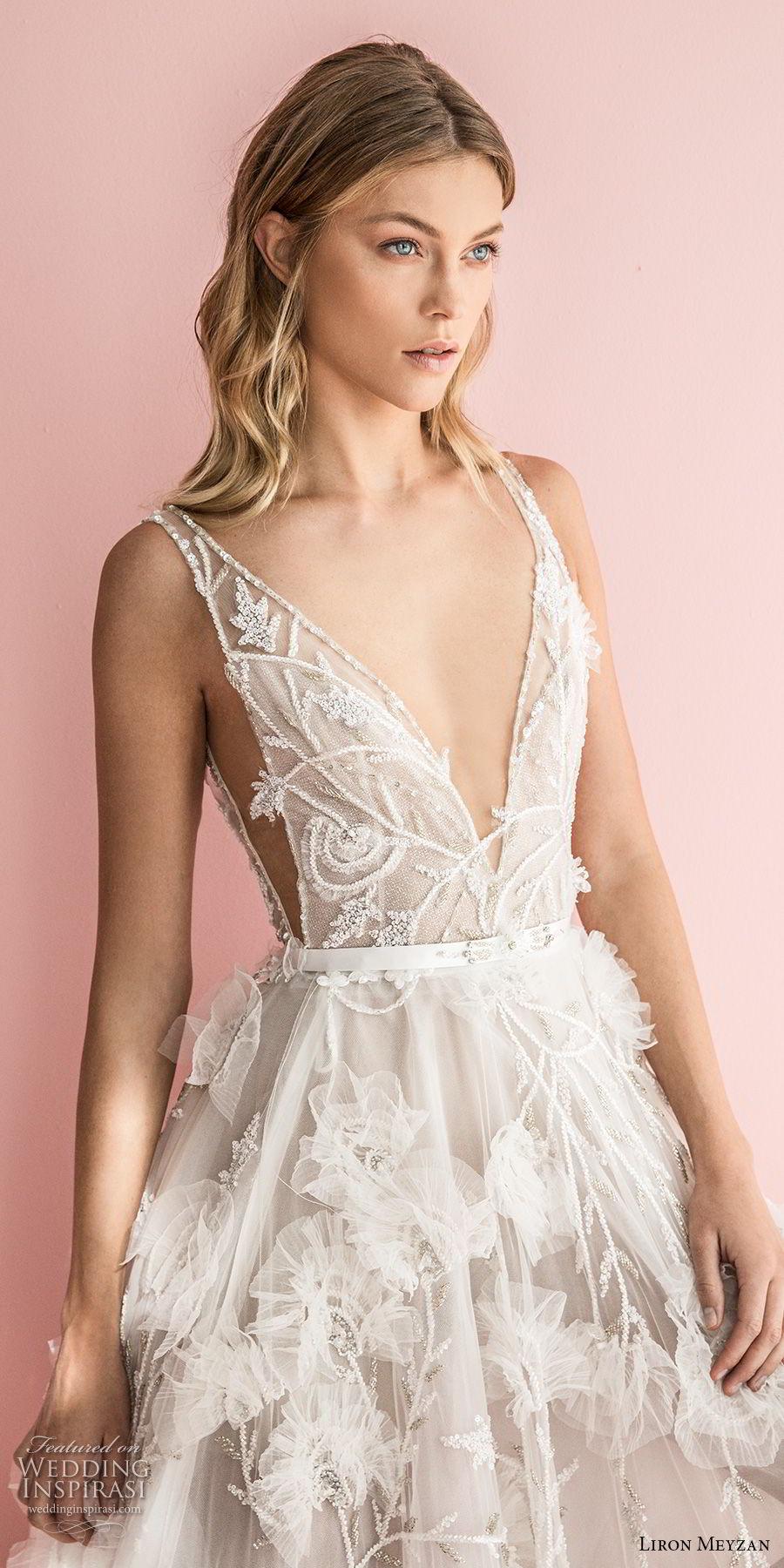 liron meyzan 2018 bridal sleevelesss deep v neck full embellishment side open romantic a  line wedding dress sweep train (3) zv