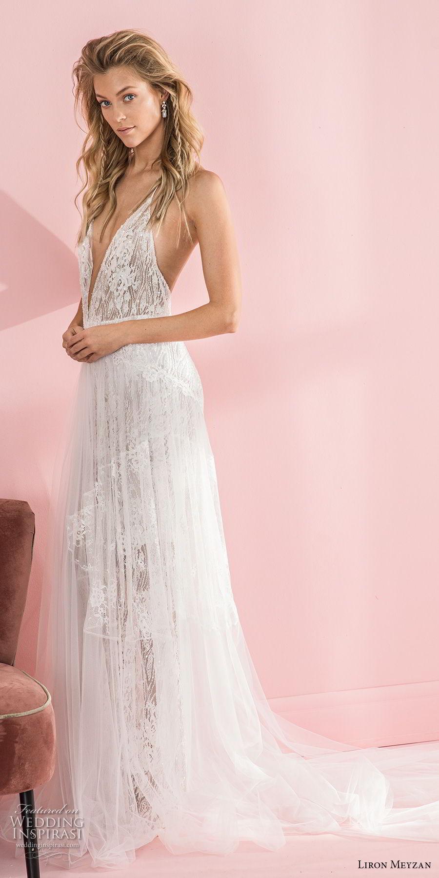 liron meyzan 2018 bridal spaghetti strap deep v neck full embellishment romantic sexy soft a  line wedding dress open back chapel train (9) mv