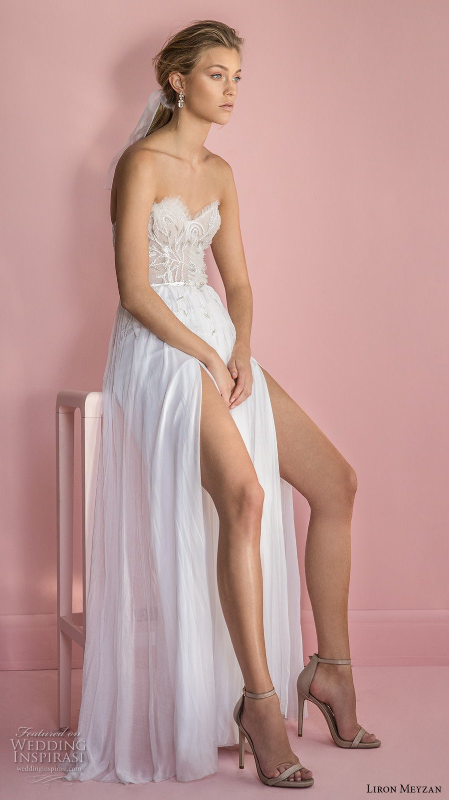 liron meyzan 2018 bridal strapless sweetheart neckline heavily embellished bodice double slit skirt soft a  line wedding dress sweep train (7) mv