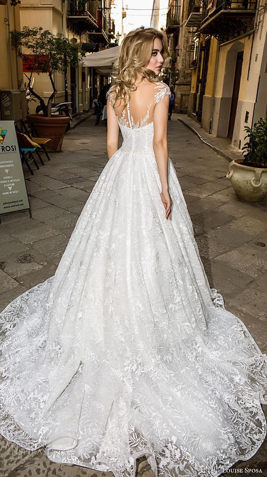 louise sposa 2018 bridal cap sleeves illusion bateau sweetheart neckline full embellishment romantic a  line wedding dress medium train (8) bv