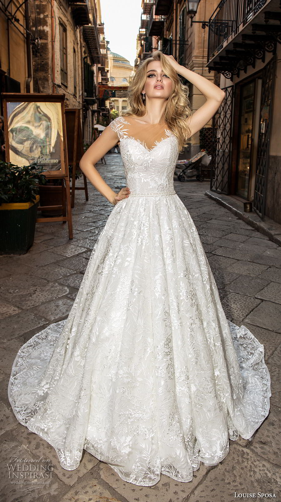 louise sposa 2018 bridal cap sleeves illusion bateau sweetheart neckline full embellishment romantic a  line wedding dress medium train (8) mv