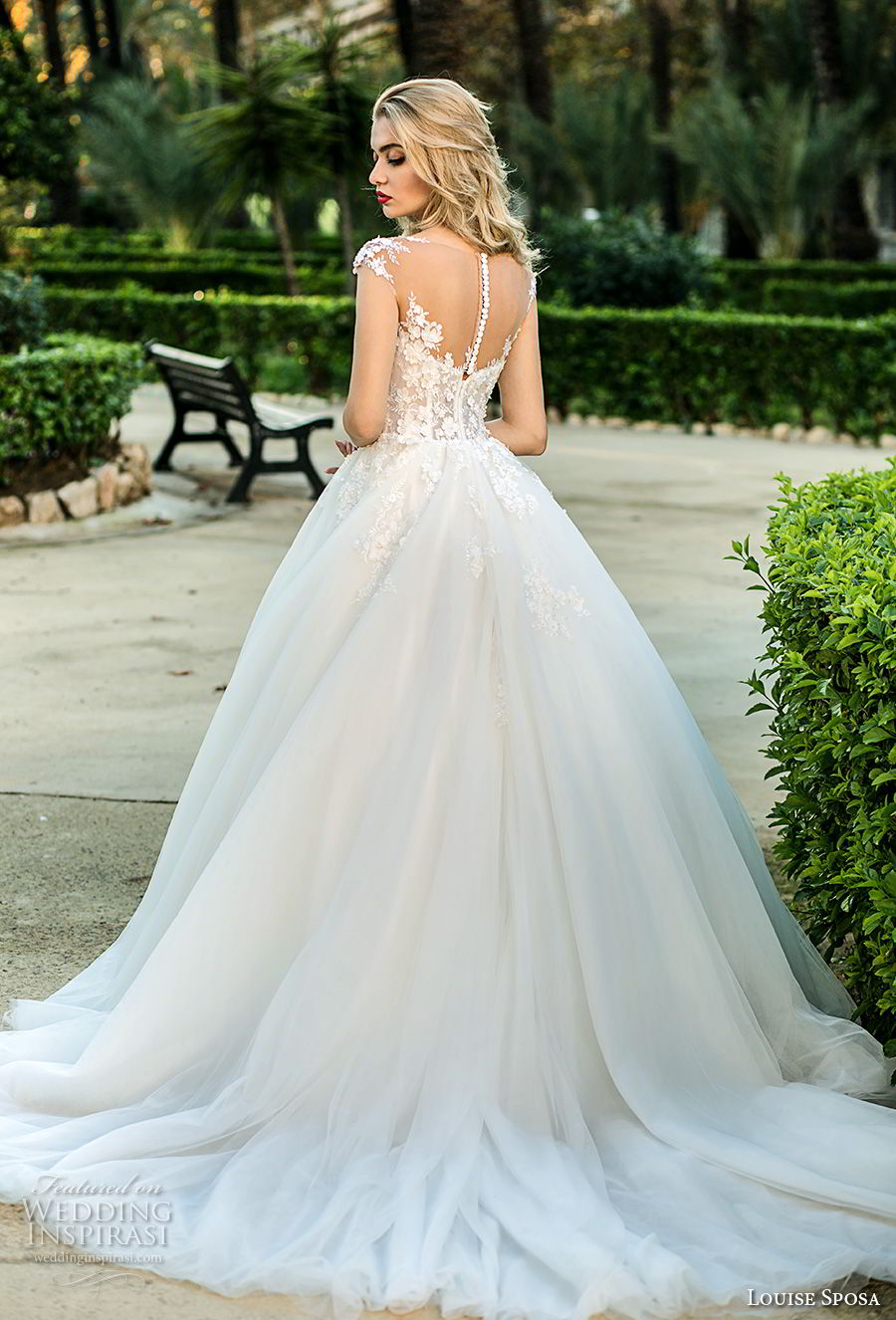 louise sposa 2018 bridal cap sleeves illusion bateau sweetheart neckline heavily embellished bodice princess ball gown a  line wedding dress sheer button back chapel train (22) bv