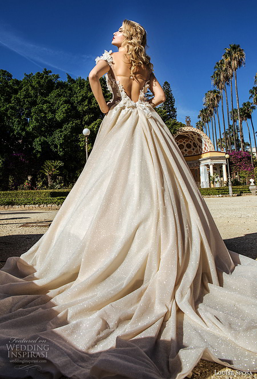 louise sposa 2018 bridal cap sleeves illusion bateau sweetheart neckline heaviy embellished bodice princess champagne color ball gown wedding dress open back royal train (24) bv