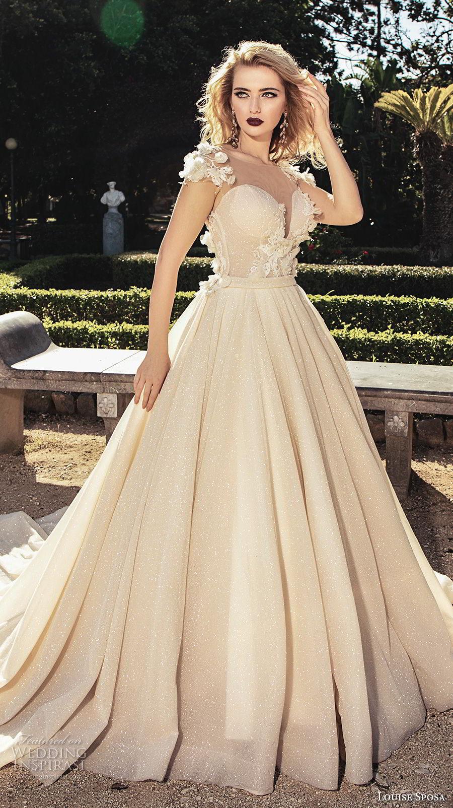 louise sposa 2018 bridal cap sleeves illusion bateau sweetheart neckline heaviy embellished bodice princess champagne color ball gown wedding dress open back royal train (24) mv