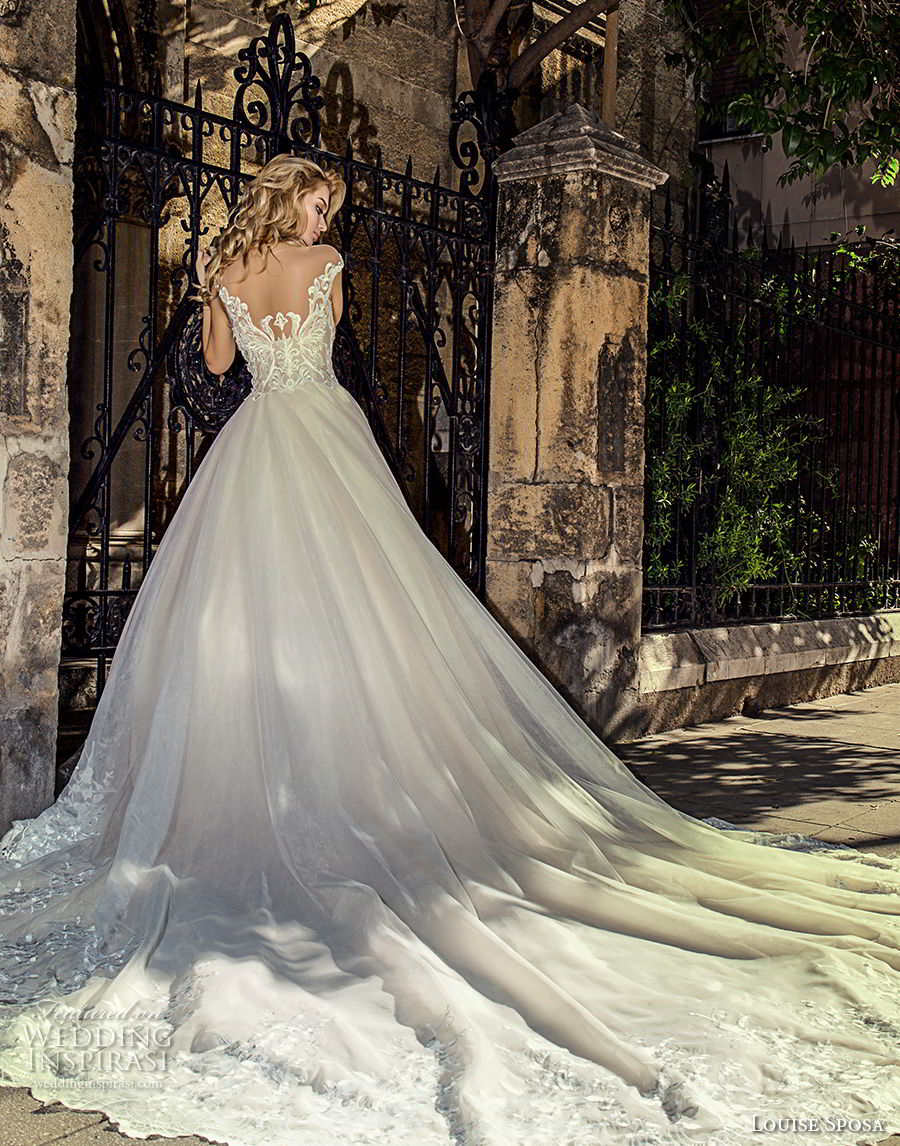 louise sposa 2018 bridal cap sleeves illusion bateau v neck heavily embellished bodice princess ball gown a  line wedding dress sheer back royal train (18) bv