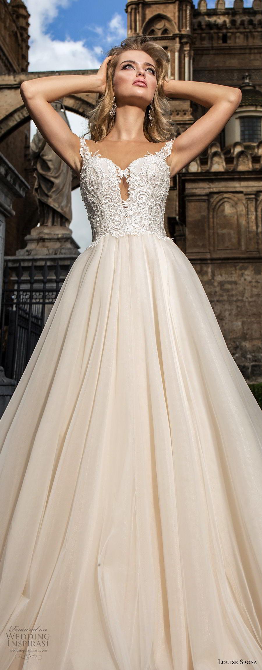 louise sposa 2018 bridal cap sleeves sweetheart neckline heavily embellished bodice romantic a  line wedding dress chapel train (10) lv