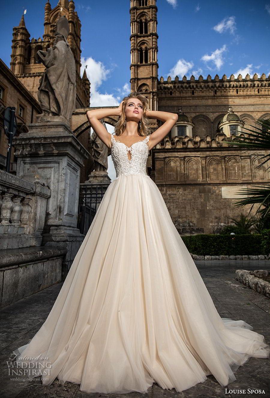 louise sposa 2018 bridal cap sleeves sweetheart neckline heavily embellished bodice romantic a  line wedding dress chapel train (10) mv