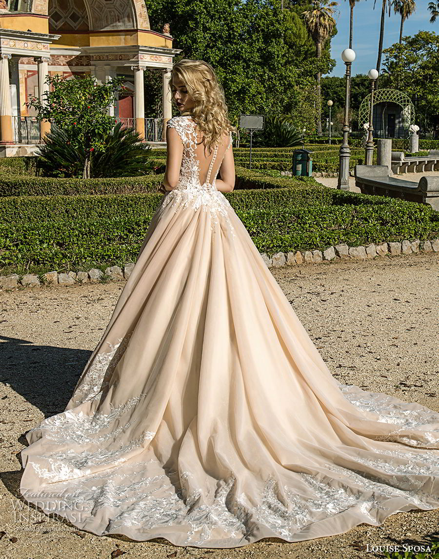 louise sposa 2018 bridal cap sleeves sweetheart neckline heavily embellished bodice romantic princess blush color ball gown a  line wedding dress sheer button chapel train (14) bv