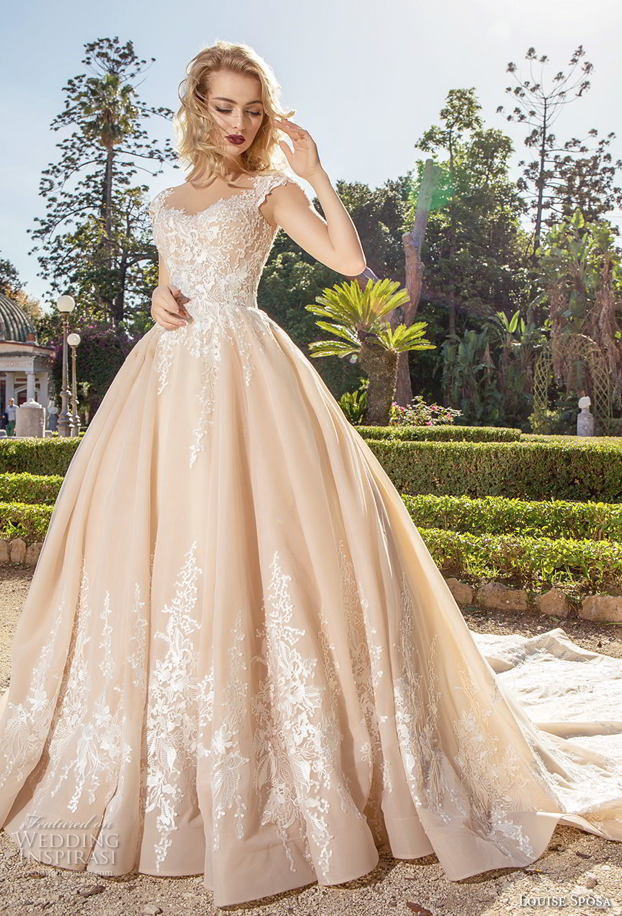 louise sposa 2018 bridal cap sleeves sweetheart neckline heavily embellished bodice romantic princess blush color ball gown a  line wedding dress sheer button chapel train (14) mv