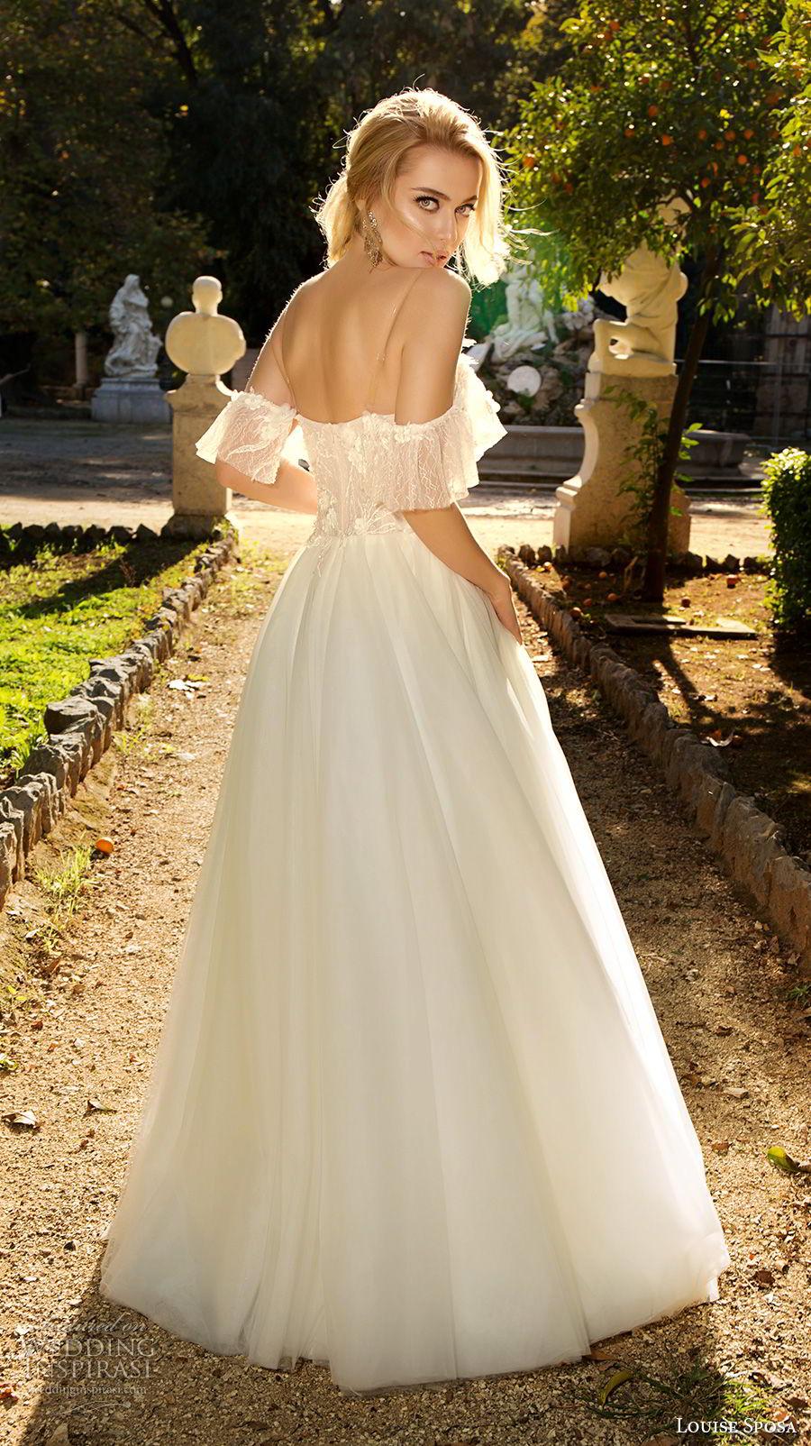 louise sposa 2018 bridal cold shoulder half sleeves sweetheart neckline heavily embellished bodice romantic a  line wedding dress sweep train (13) bv