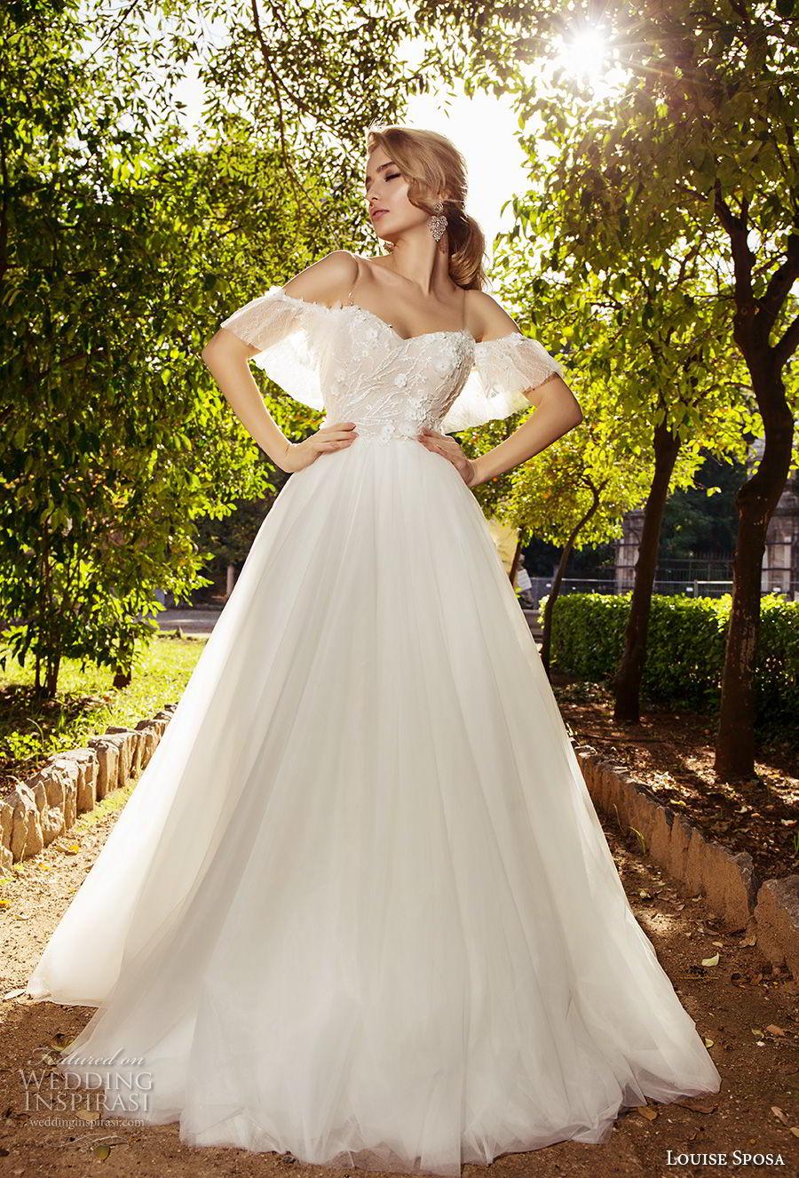 louise sposa 2018 bridal cold shoulder half sleeves sweetheart neckline heavily embellished bodice romantic a  line wedding dress sweep train (13) mv