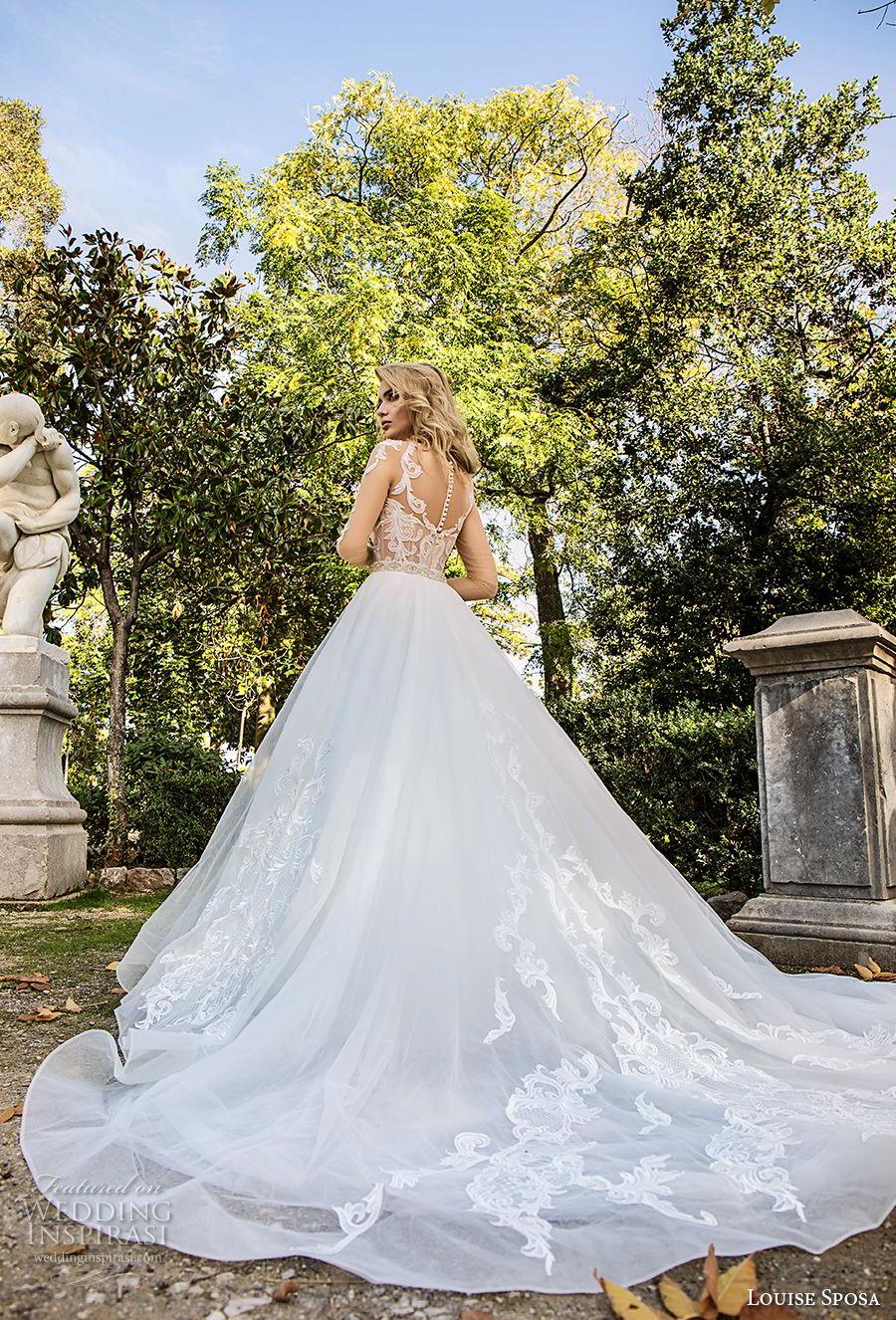 louise sposa 2018 bridal half sleeves illusion bateau v neck heavily embellished bodice princess a  line wedding dress sheer button chapel train (16) bv